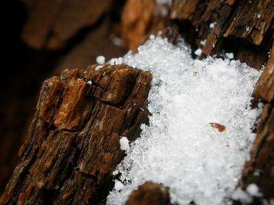 Snow on wood.