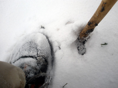 Snow's getting deeper on my shoes.