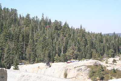 A helicopter dropping off supplies at the beginning of the Rubicon Trail.