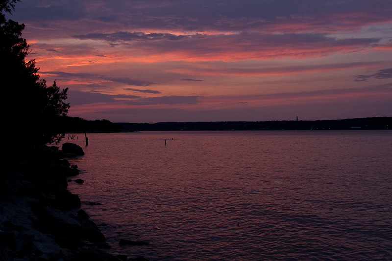 Sunset on the lake by our campsite