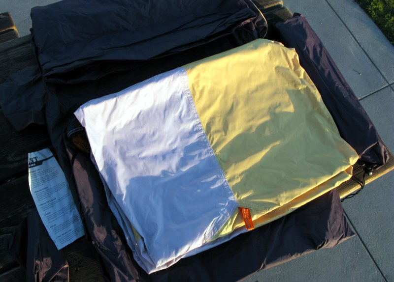 What's inside: poles in bag, stakes and extra guylines in bag, tent, fly.