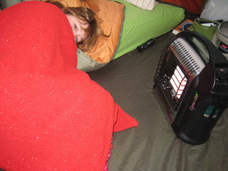 Crystal's favorite spot - Thanks for the heaters Dave!