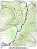We hiked the blue trail, camping where it left the South Prong Trail (green)