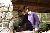 Mike and Jason making breakfast in the outdoor kitchen.