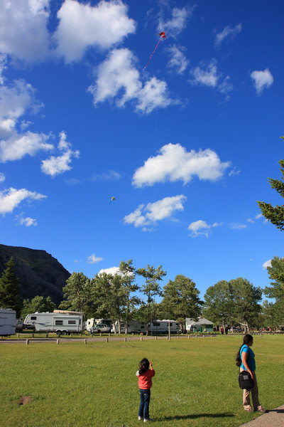 Kite Flying at Campsite on Lakeshore