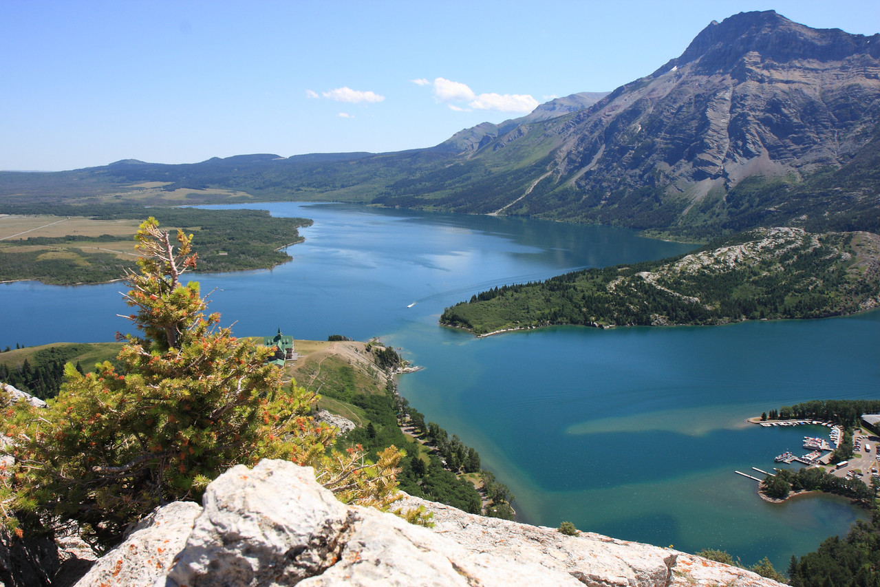 View of Waterton Lake and Town fom Bears Hump Trail top point