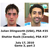 Julian Illigworth and Shahier Razik played an exhibition match at Wesleyan University on July 17, 2010.