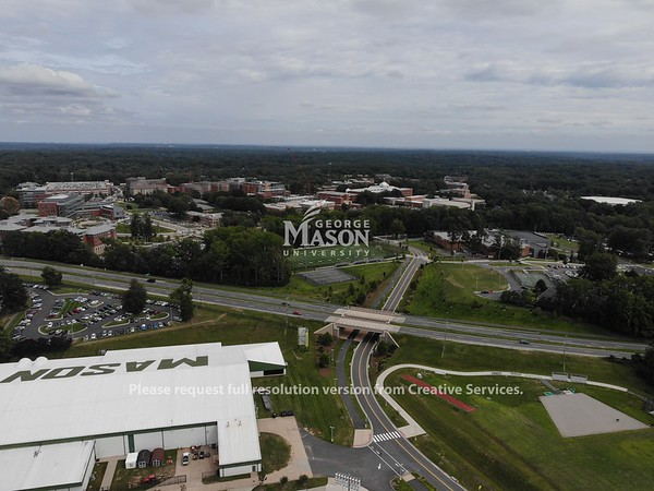 Aerial image of the field house and Fairfax Campus. Photo by GMUPD UAS Unit
