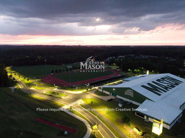 Aerial image of the field house. Photo by GMUPD UAS Unit
