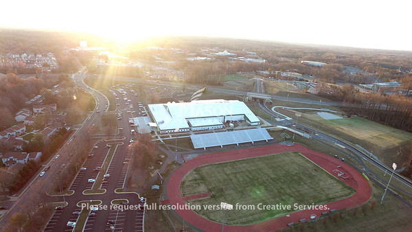 Aerial image of the field house and the track at Fairfax Campus. Photo by MPO Jacob Simkovitz, GMUPD UAS Unit