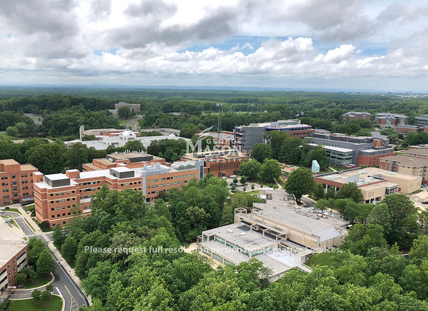 Fairfax Campus taken from a helicopter. Photo by CPT J. Jeniec, GMUPD UAS Unit