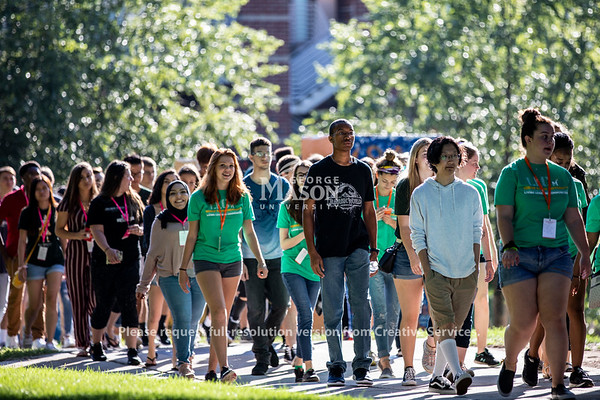 Students walk to the Eagle Bank Arena for New Student Convocation at George Mason University. Photo by Lathan Goumas/Strategic Communications