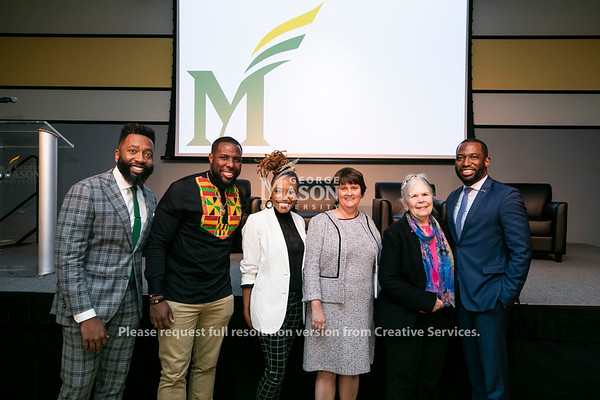 2020 Freedom and Learning Forum: a conversation around the power of symbols, statues, and race in 21st century America, Julian Williams, Dr. Wes Bellamy, Dr. Wendi Manuel-Scott, Interim President Anne Holton, Martha Rollins, and Hon. Levar Stoney. Photo by: Ron Aira/Creative Services/George Mason University