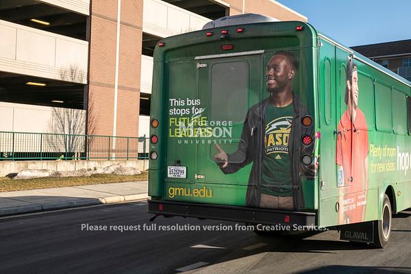 George Mason Bus Ads.  Photo by:  Ron Aira/Creative Services/George Mason University