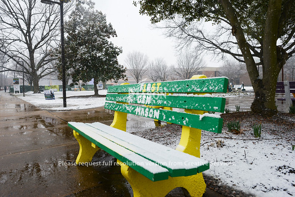 Snow on the benches at Fairfax campus. Photo by Evan Cantwell/Creative Services/George Mason Universitty
