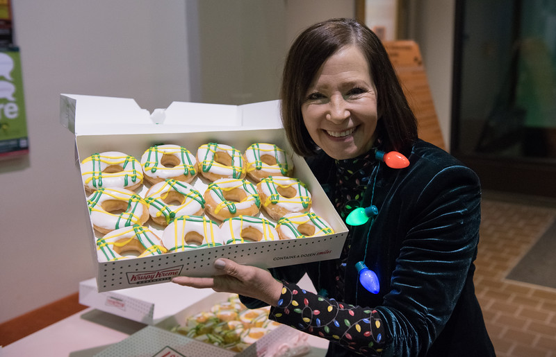 """Chancellor Cathy Sandeen and Interim Provost John Stalvey continue UAA's tradition of the Chancellor's roving holiday party. This year's party was a special one, as UAA's doors had just opened the day prior after a closure due to a magnitude 7.0 earthquake.  <div class=""""ss-paypal-button"""">181206-CHANCELLOR HOLIDAY PARTY-JRE-0008.jpg</div><div class=""""ss-paypal-button-end""""></div>"""
