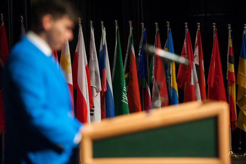 "Secretary-General Jacob Shercliffe takes the podium as he prepares to kick off the Model United Nations of Alaska 2018 Conference at UAA's Wendy Williamson Auditorium. The 36th Annual Model U.N. of Alaska conference, hosted by UAA's Department of Political Science, was titled ""Global Cooperation Under Siege.""  <div class=""ss-paypal-button"">180222-MODEL UN-JRE-0100.jpg</div><div class=""ss-paypal-button-end""></div>"