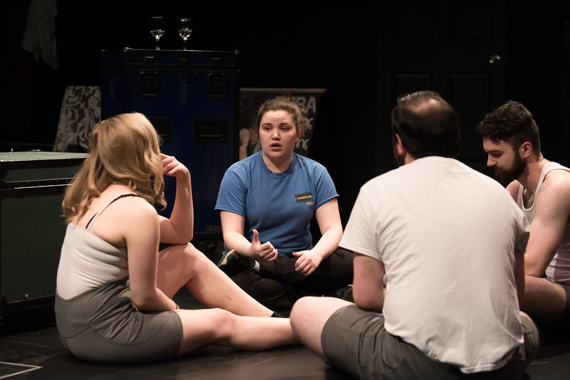 "UAA theatre major Paitton Reid directs stars  Alexandra McCall, Ben Hagensieker, and Chase Knutson during a dress rehearsal in the Harper Studio for ""Betrayal,"" written by Harold Pinter.  <div class=""ss-paypal-button"">190417-BETRAYAL PLAY-JRE-0203.jpg</div><div class=""ss-paypal-button-end""></div>"
