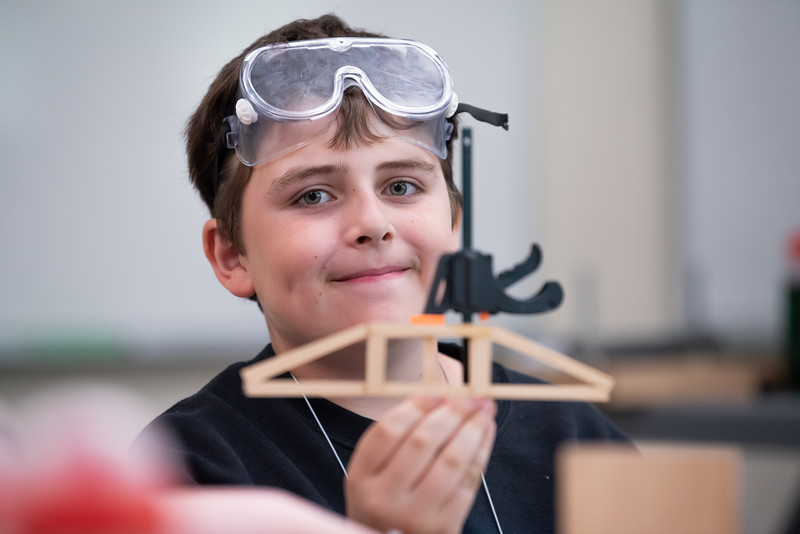 """UAA Summer Engineering Academy students build wood bridges to be tested to failure during the Structure Destruction Academy in UAA's Engineering and Industry Building.  <div class=""""ss-paypal-button"""">190625-SUMMER ENGINEERING ACADEMY-JRE-0476.jpg</div><div class=""""ss-paypal-button-end""""></div>"""