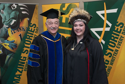 College of Arts and Sciences Dean John Stalvey with Student Speaker Alexandria McLearen before the UAA 2017 Fall Commencement.  171217-COMMENCEMENT PORTRAITS-JRE-0268.jpg