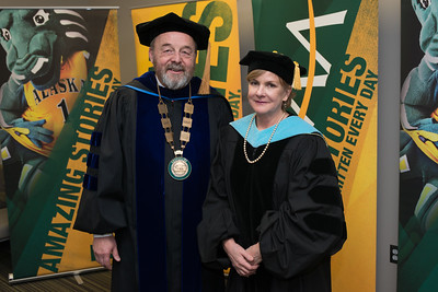 Interim Chancellor Sam Gingerich with Faculty Emerita Patricia Grega before the UAA 2017 Fall Commencement.  171217-COMMENCEMENT PORTRAITS-JRE-0240.jpg