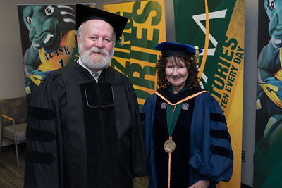 Graduate School Dean Dr. Helena Wisniewski with Meritorious Service Award Recipient Rick Goodfellow before the UAA 2017 Fall Commencement.  171217-COMMENCEMENT PORTRAITS-JRE-0256.jpg