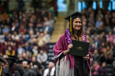 Jasmine Bourne, Bachelor's of Business Administration, Management, after receiving her degree during the UAA 2017 Fall Commencement.