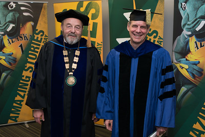 Interim Chancellor Sam Gingerich and Edith R. Bullock Prize recipient Gunnar Knapp before the UAA 2017 Fall Commencement.  171217-COMMENCEMENT PORTRAITS-JRE-0242.jpg