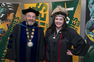 Interim Chancellor Sam Gingerich with Student Speaker Alexandria McLearen before the UAA 2017 Fall Commencement.  171217-COMMENCEMENT PORTRAITS-JRE-0265.jpg