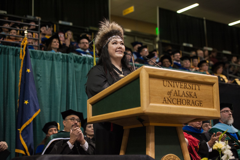 "Student Speaker Alexandria McLearen addresses graduates during the UAA 2017 Fall Commencement.  <div class=""ss-paypal-button"">171217-COMMENCEMENT-JRE-0872.jpg</div><div class=""ss-paypal-button-end""></div>"