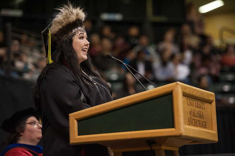 "Student Speaker Alexandria McLearen addresses graduates during the UAA 2017 Fall Commencement.  <div class=""ss-paypal-button"">171217-COMMENCEMENT-JRE-0882.jpg</div><div class=""ss-paypal-button-end""></div>"