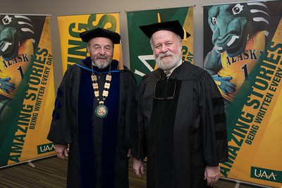 Interim Chancellor Sam Gingerich with Meritorious Service Award Recipient Rick Goodfellow before the UAA 2017 Fall Commencement.  171217-COMMENCEMENT PORTRAITS-JRE-0252.jpg
