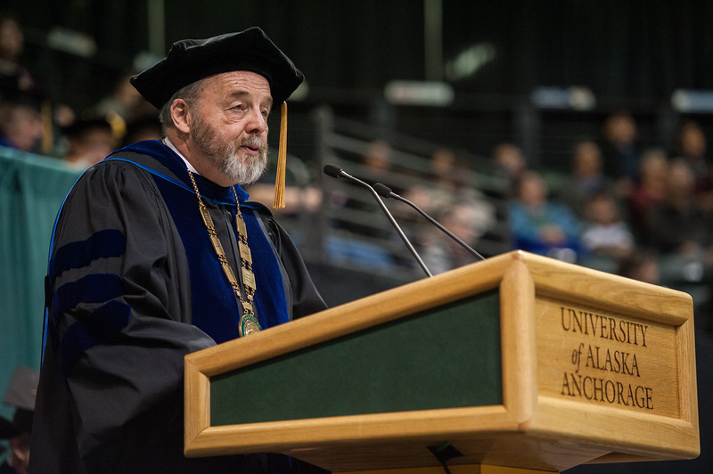 """Interim Chancellor Sam Gingerich speaks during the UAA 2017 Fall Commencement.  <div class=""""ss-paypal-button"""">171217-COMMENCEMENT-JRE-0804.jpg</div><div class=""""ss-paypal-button-end""""></div>"""