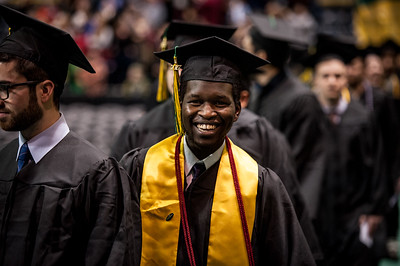 Victor K. Samoei, BS Mechanical Engineering, enters during the UAA Fall 2017 Commencement.  171217-COMMENCEMENT-JRE-0363.jpg