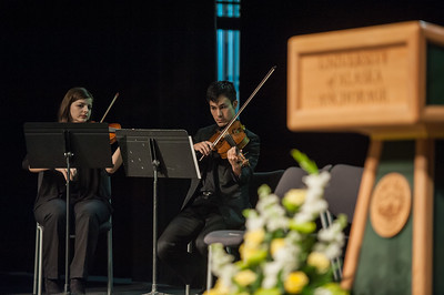 Marie Nielson, violin, and Koree Guzman, viola, perform at UAA's Fall 2017 Graduate Degree Hooding Ceremony.  171216-HOODING-JRE-0065.jpg