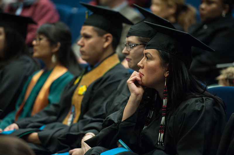 "Genevieve John, Master of Public Administration, Public Policy, waits to be hooded at UAA's Fall 2017 Graduate Degree Hooding Ceremony.  <div class=""ss-paypal-button"">171216-HOODING-JRE-0142.jpg</div><div class=""ss-paypal-button-end""></div>"