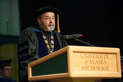 UAA Interim Chancellor Sam Gingerich speaks at UAA's Fall 2017 Graduate Degree Hooding Ceremony.  171216-HOODING-JRE-0182.jpg