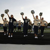 The Trine cheerleaders at the Homecoming pep rally!<br /> <br /> Photo by: Bowen Arrow Photography.