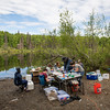 A portable lab is set up on the shore of South Rolly Lake as researchers from UAA, University of Massachusetts Lowell, University of Connecticut, and University of Texas at Austin collaborate on a joint field collection of stickleback fish. The tiny and abundant fish are the subject of intensive study at UAA and elsewhere because of their genetic variability and their surprising physiological parallels with humans.<br /> <br /> 190528-KELLY IRELAND STICKLEBACKS-JRE-0584