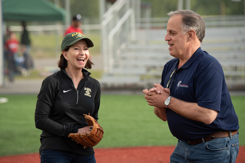 "Chancellor Cathy Sandeen gets ready to throw the first pitch at UAA Night at the Ballpark as UAA hosts a Chugiak-Eagle River Chinooks baseball game at Lee Jordan Field in Chugiak.  <div class=""ss-paypal-button"">190610-CHANCELLOR BASEBALL-JRE-0077.jpg</div><div class=""ss-paypal-button-end""></div>"