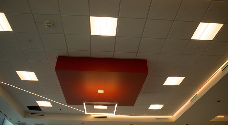 The light fixtures in the convention hall on the third floor of the Campus Center are chic and modern.