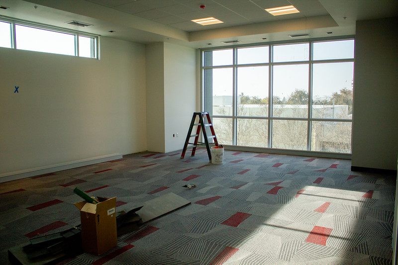 The executive boardroom offers a view of the campus from the second floor.