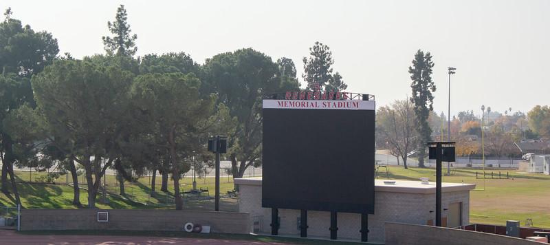 The new LCD scoreboard in Memorial Stadium.