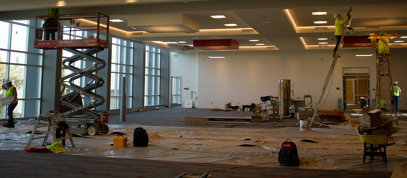 The construction team are busy at work finishing the third floor convention hall.