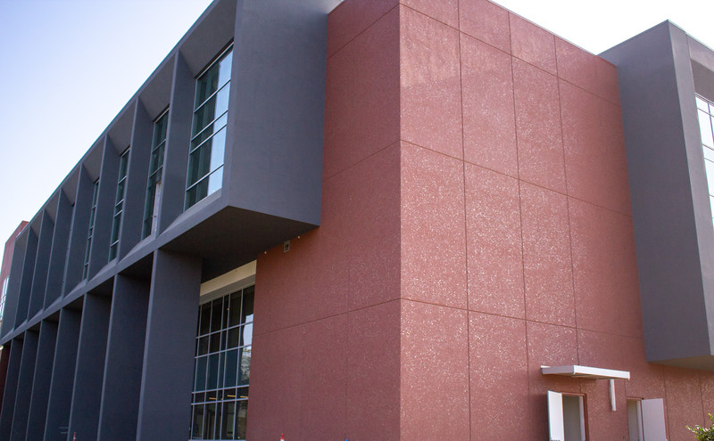 An exterior view of the Campus Center from the Library.
