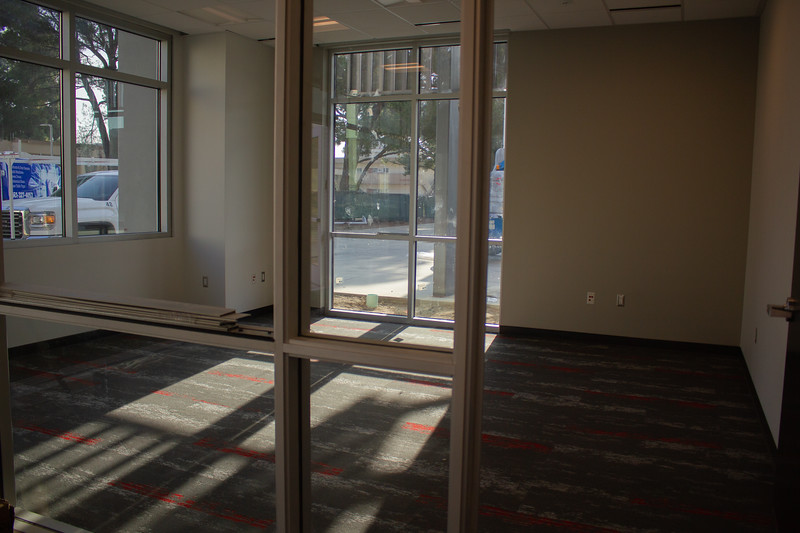 This office space for SGA and Office of Student Life staff offers a view of students as they walk around the campus.