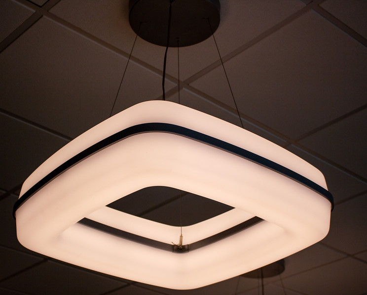 The lighting fixtures in the new Campus Center provide a warm ambiance to the building.