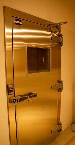 The door to the walk-in freezer in the new cafeteria.