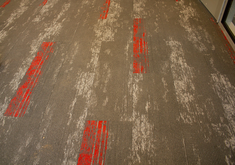 The carpeting on the first floor of the new Campus Center.