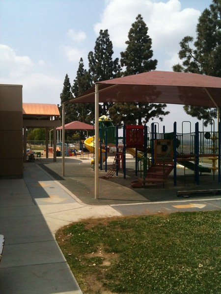 The outdoor playroom area of the Child Development Center.